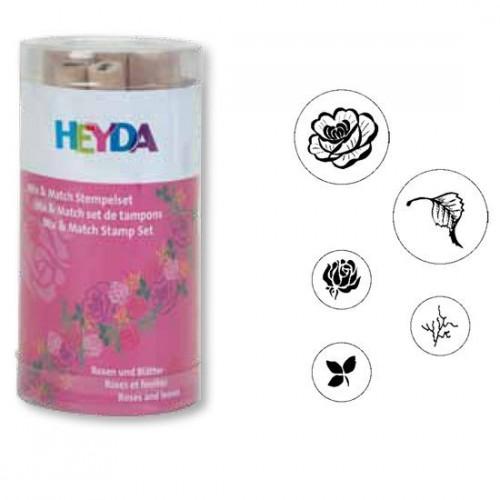 Set of Stamps - Roses, Heyda 5 pcs