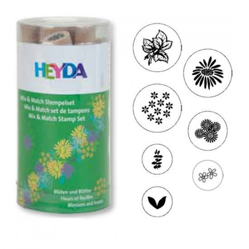 Stamp set - Heyda - flowers, 7 pcs.