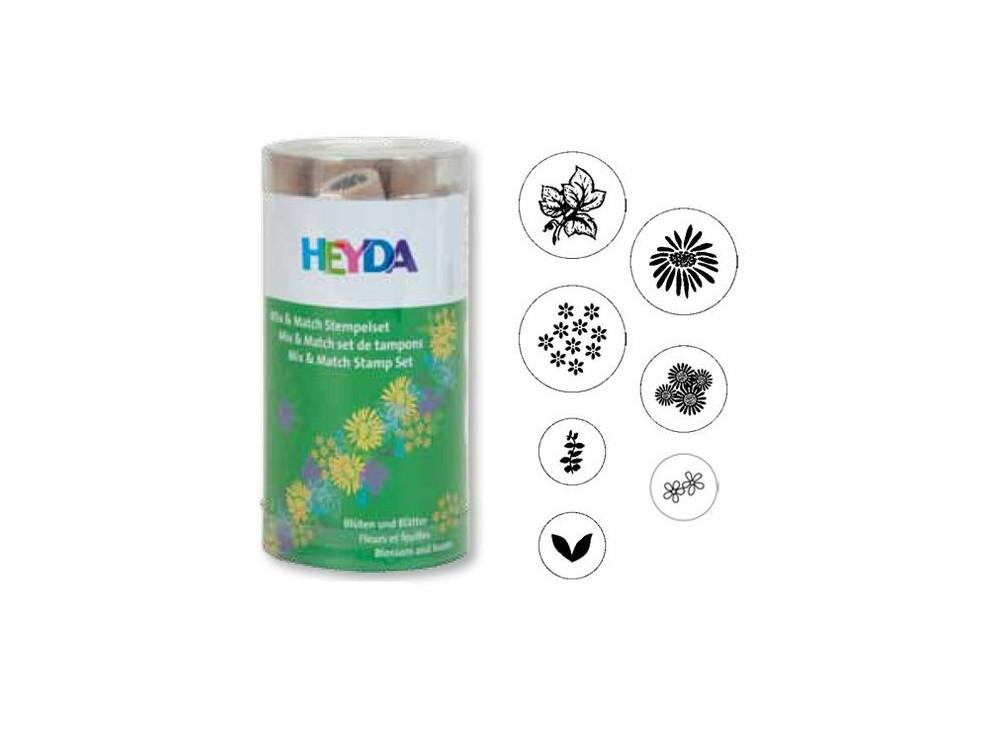 Stamp set - Heyda - flowers, 7 pcs.