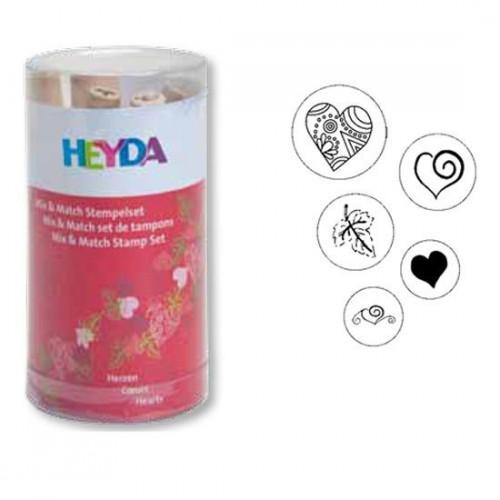 Stamp set - Heyda - hearts, 5 pcs.