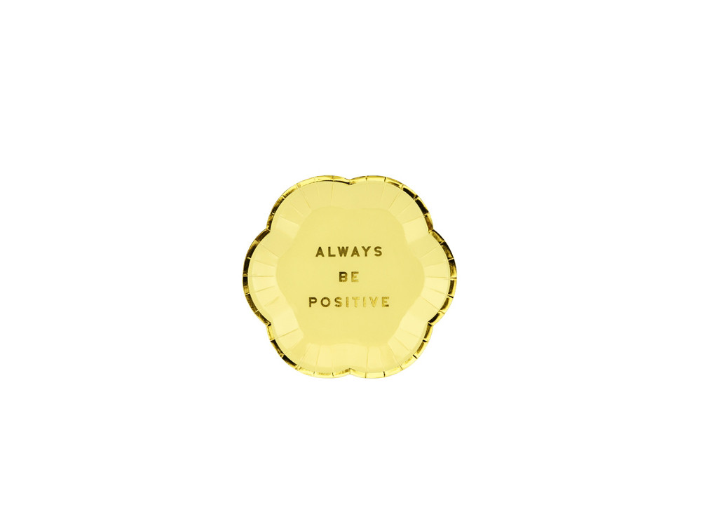 Yummy Always Be Positive plates - yellow and gold, 13 cm, 6 cm