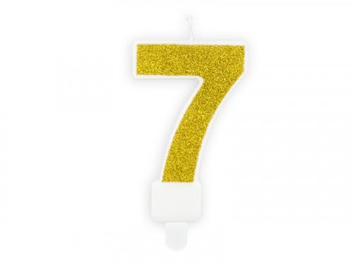 Świeczka urodzinowa cyferka 7, złota