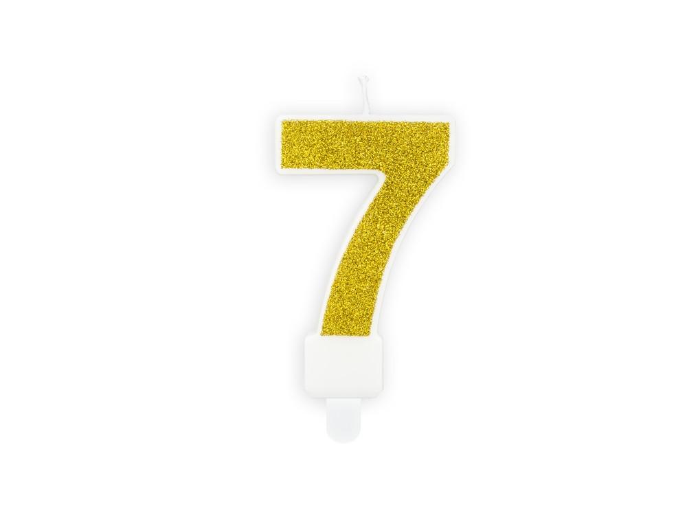 Świeczka urodzinowa cyferka 7 - brokatowa, złota