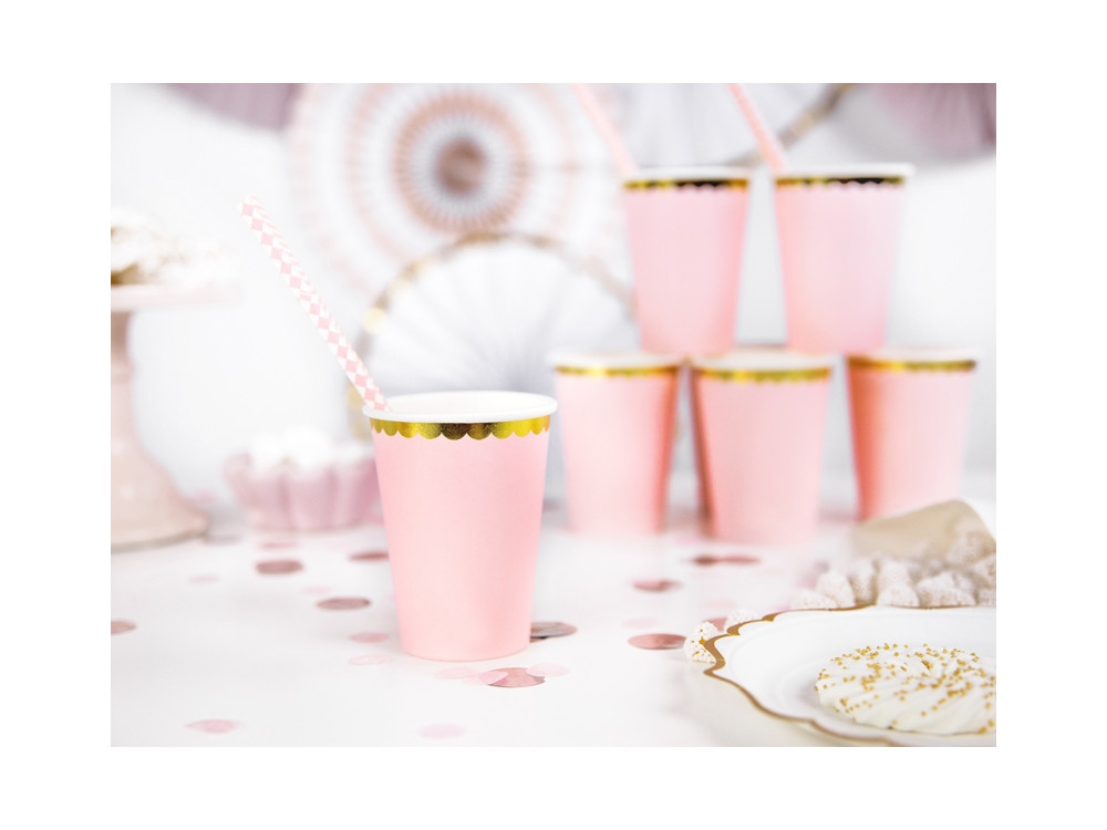 Paper cups - pink and gold, 220 ml, 6 pcs.