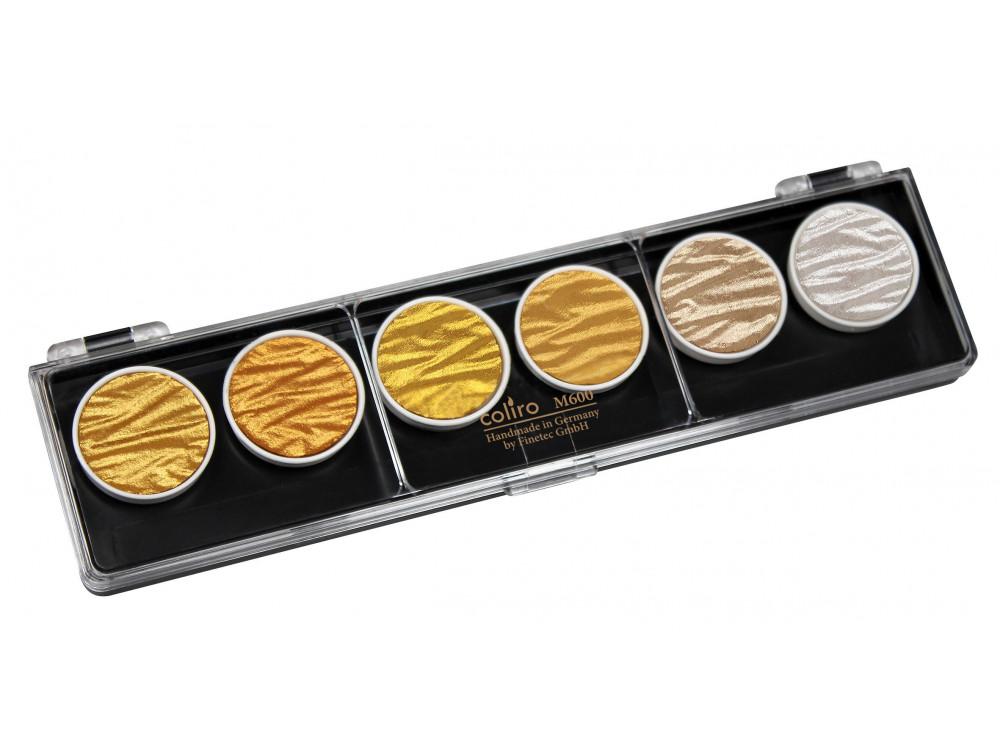 Zestaw farb akwarelowych - Coliro Pearl Colors - Gold & Silver, 6 kolorów