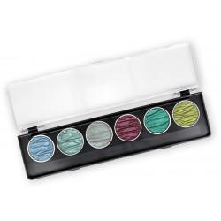 Set of 6 color watercolors - Paradise - Coliro Pearl Colors