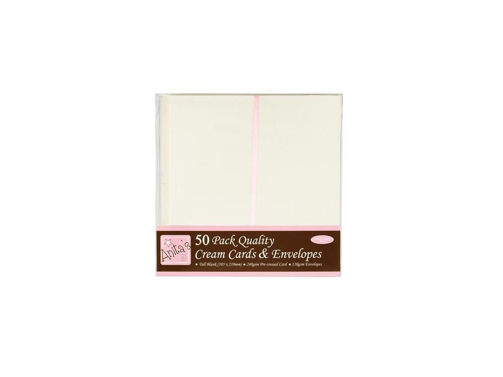 TALL CARDS & ENVELOPES SET - ANITA'S - CREAM, 50 PCS