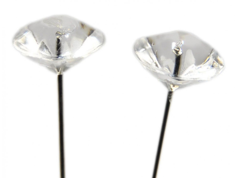 Diamante Head Pins 50 mm Clear