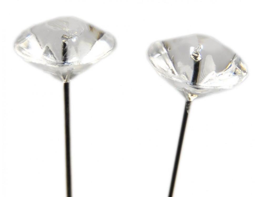 Szpilki ozdobne z diamentową główką - przezroczyste, 50 mm, 100 szt.