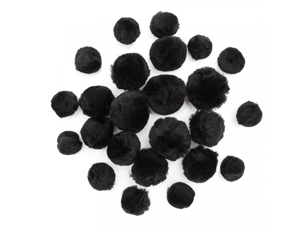 Pompony akrylowe - czarne, różne rozmiary, 24 szt.