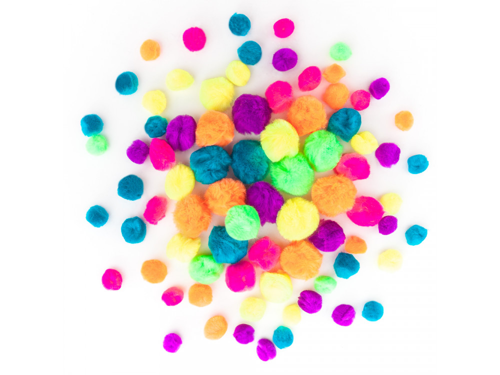 Assorted Acrylic Pompoms - DpCraft - colorful neon, 78 pcs.
