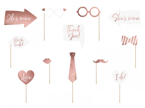 Gadgets for wedding photos - white, rose gold, 12 pcs.