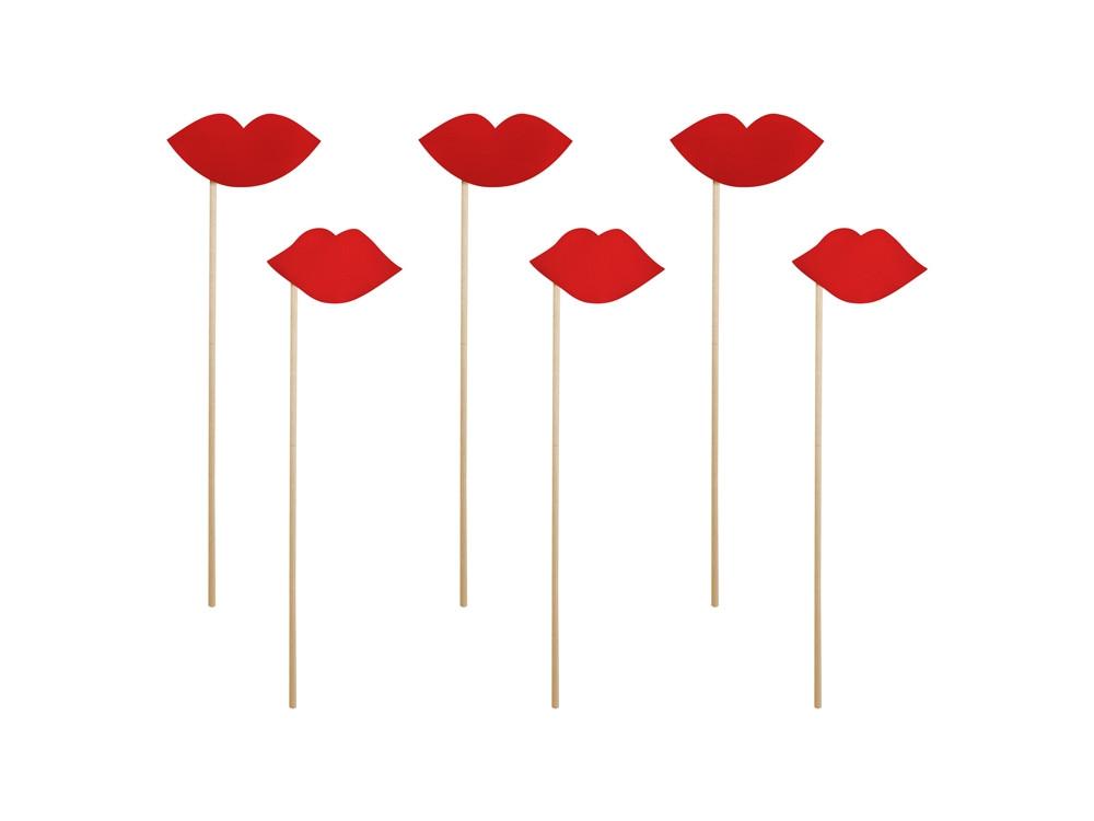 Lips props - red, 6 pcs.