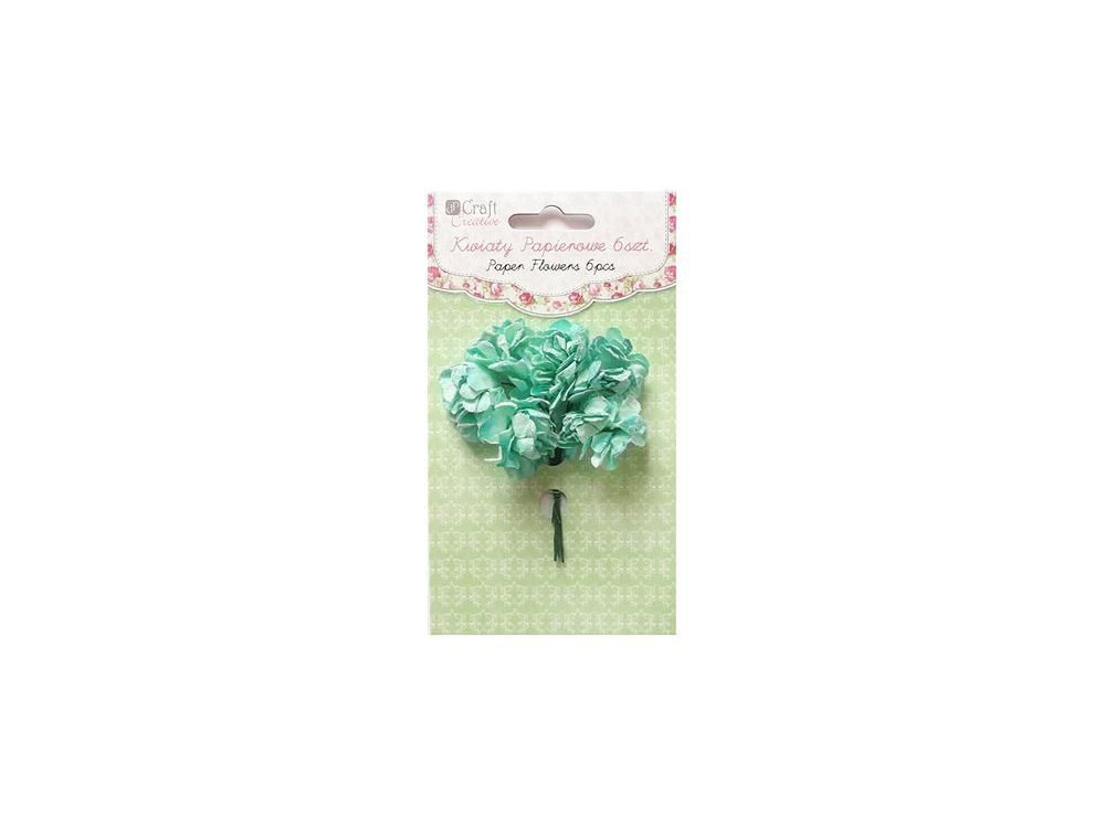 PAPER FLOWERS 3 CM, 6 PCS CARNATIONS - MINT