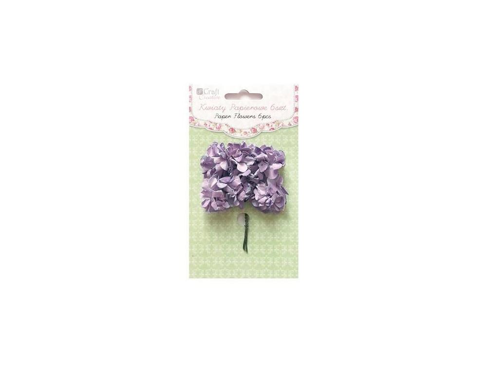 Kwiaty papierowe goździki - DpCraft - lawendowe, 3 cm, 6 szt.