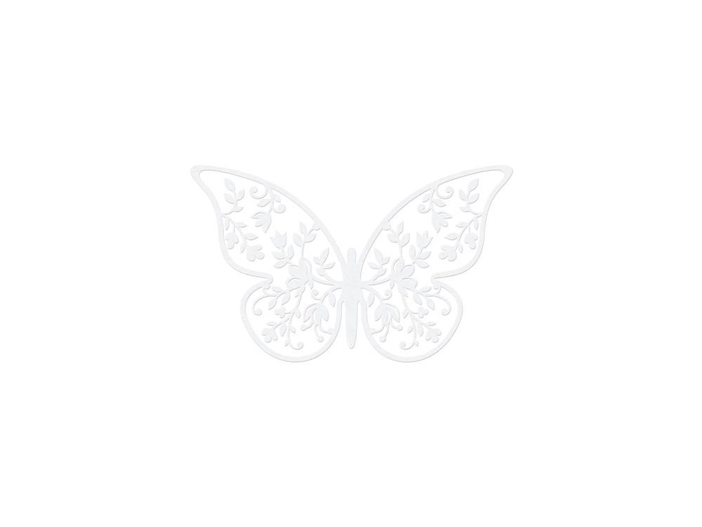 Motyle dekoracyjne, papierowe - białe, 10 szt