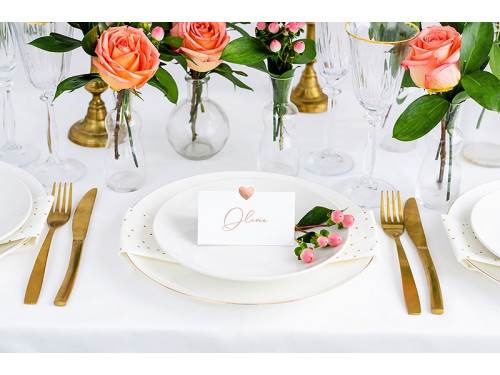 Business cards on the table, Heart, pink gold