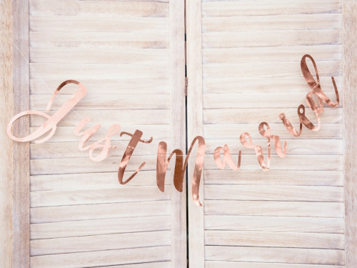Just Married banner - rose gold, 1 pc.