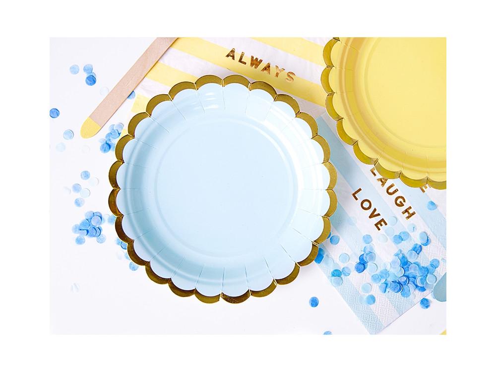 Paper plates - blue and gold, 18 cm, 6 pcs.
