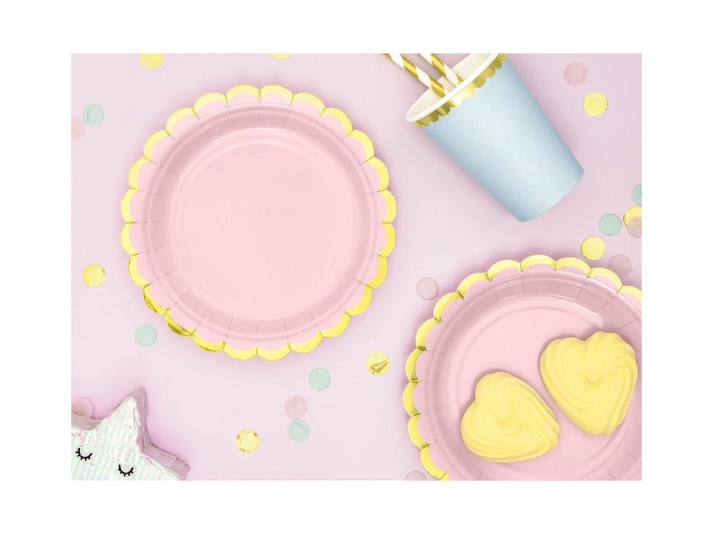 Paper plates - pink and gold, 18 cm, 6 pcs.