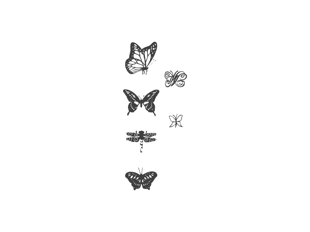 Zestaw długich stempli - Heyda - motyle, 6 szt.