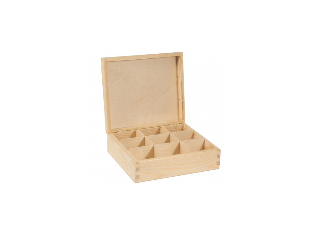 Pojemnik drewniany na herbatę, herbaciarka - 9 przegród