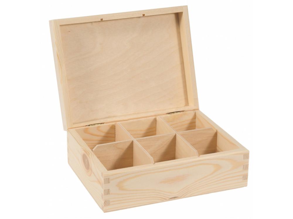 Pojemnik drewniany na herbatę, herbaciarka - 6 przegród