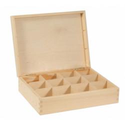 Pojemnik drewniany na herbatę, herbaciarka - 12 przegród