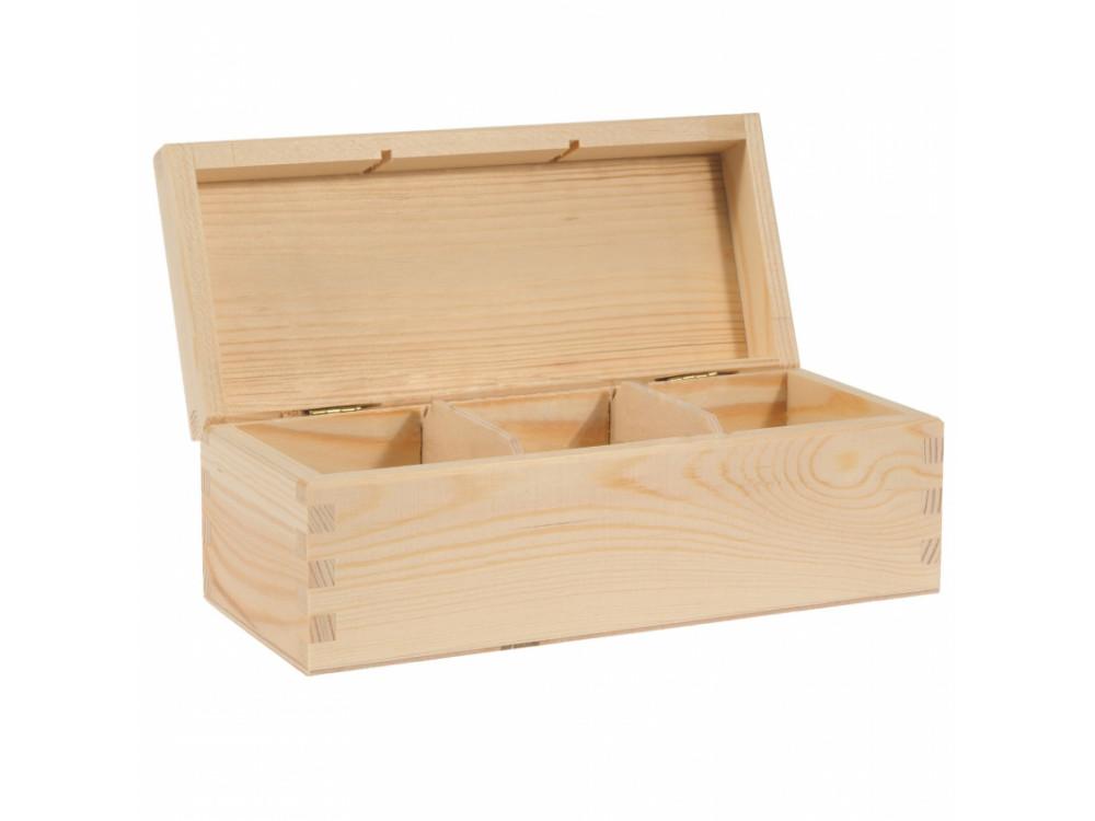 Wooden Tea Box, 3 Compartments