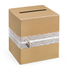 Wedding card box, 24 x 24 x 24 cm, 1 pc, brown