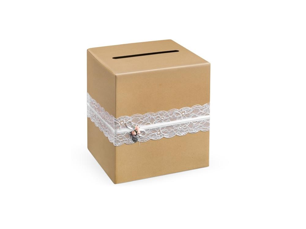 Pudełko na koperty i życzenia ślubne - kraft brązowe