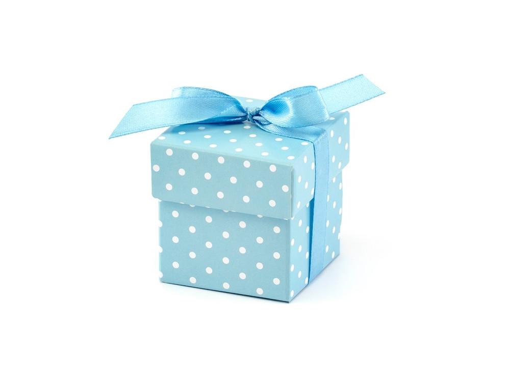 Pudełeczka dla gości w kropki - błękitne, 10 szt.