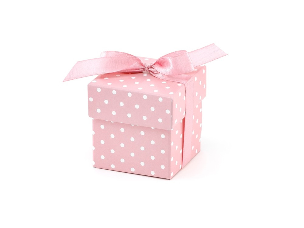 Boxes with dots, pink, 10 pcs