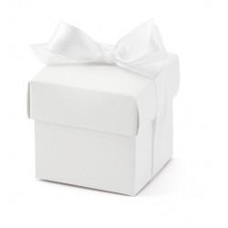 Pudełeczka dla gości z kokardką - białe, 10 szt.