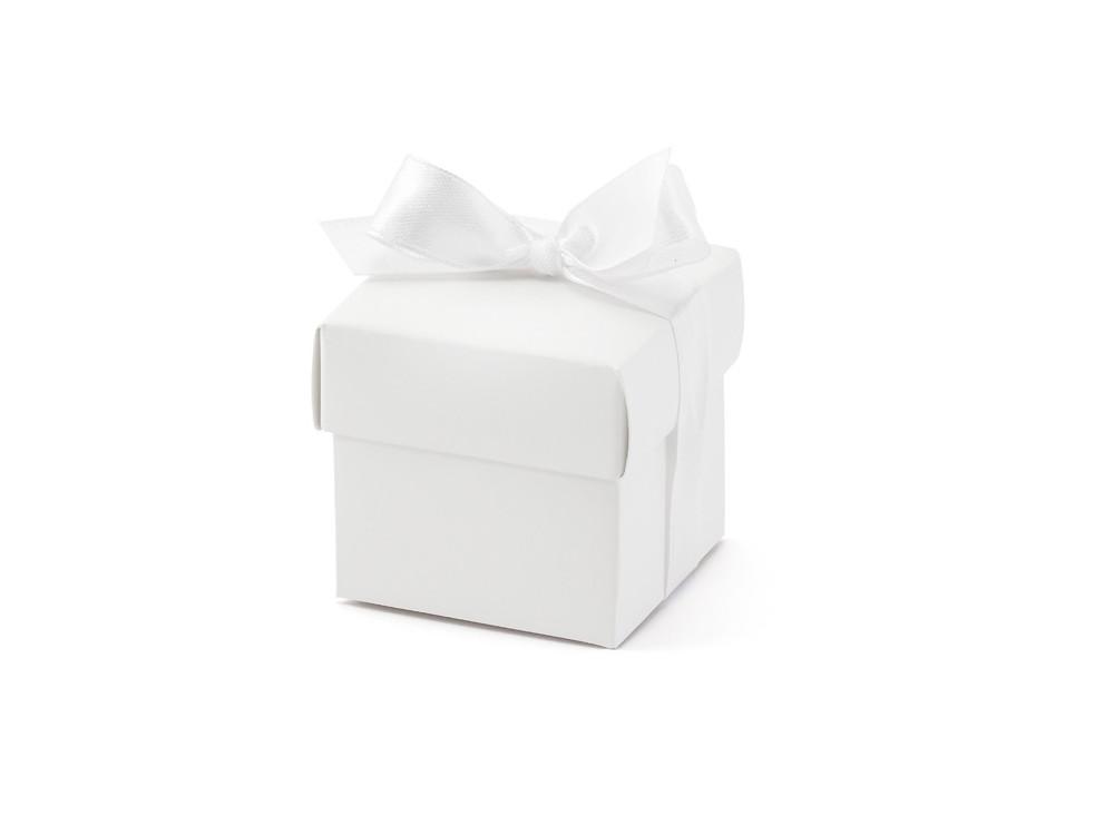 Boxes with a ribbon, white, 10 pcs