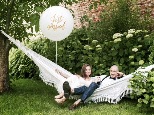 Giant balloon Just married - gold lettering, 1 m