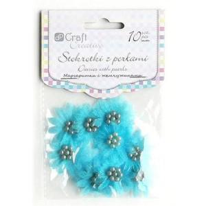 Stokrotki z perłami 35 mm 10 szt. turkusowe