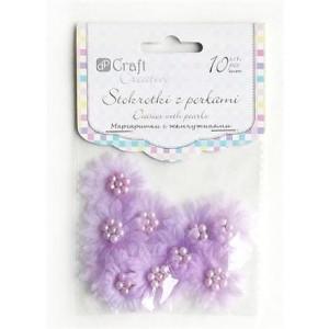Stokrotki z perłami 35 mm 10 szt. liliowe