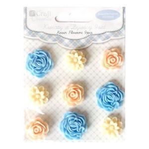 Kwiaty z żywicy samoprzylepne 9 szt. Silk Pastels
