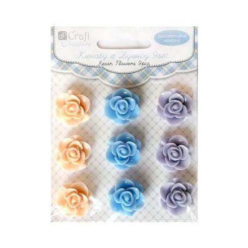 Kwiaty z żywicy samoprzylepne 20 mm 9 szt. Pastel Mousse