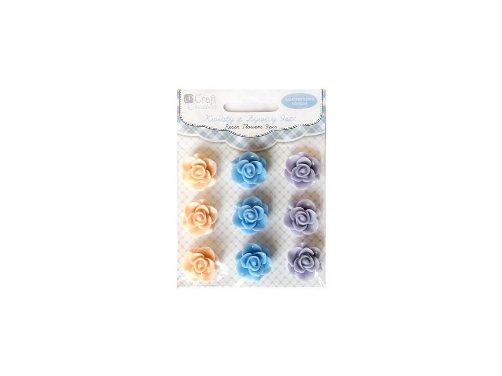 Kwiaty samoprzylepne z żywicy - DpCraft - Pastel Mousse, 20 mm 9 szt.