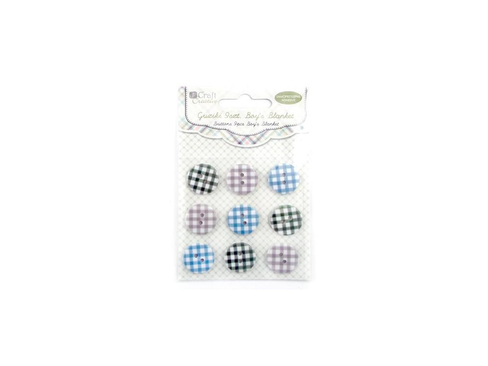 Adhesive buttons Boy's Blanket - 18 mm, 9 pcs.