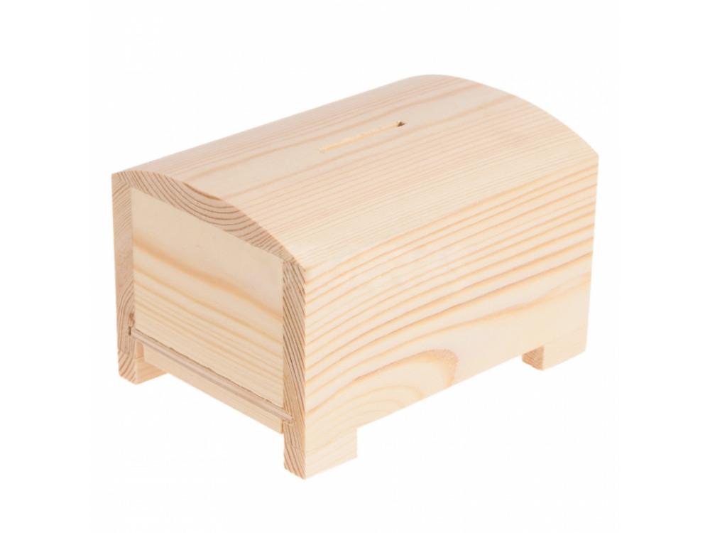 Skarbonka drewniana, kuferek z zasuwką - 12,5 x 9,5 x 8 cm