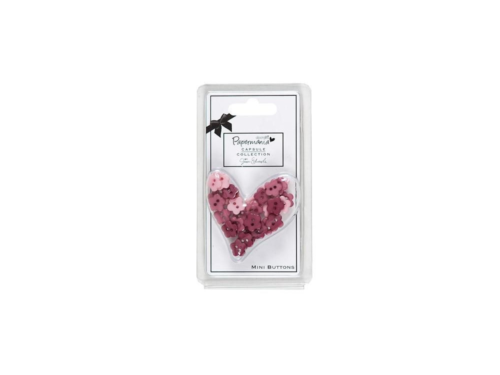 Daisy mini buttons - Papermania - Parkstone Pink, 30 pcs.