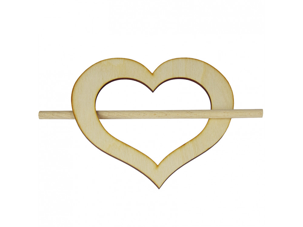 Upinacz drewniany do zasłon firan - serce, 13,5 cm
