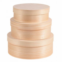 Wooden round boxes 3 in 1
