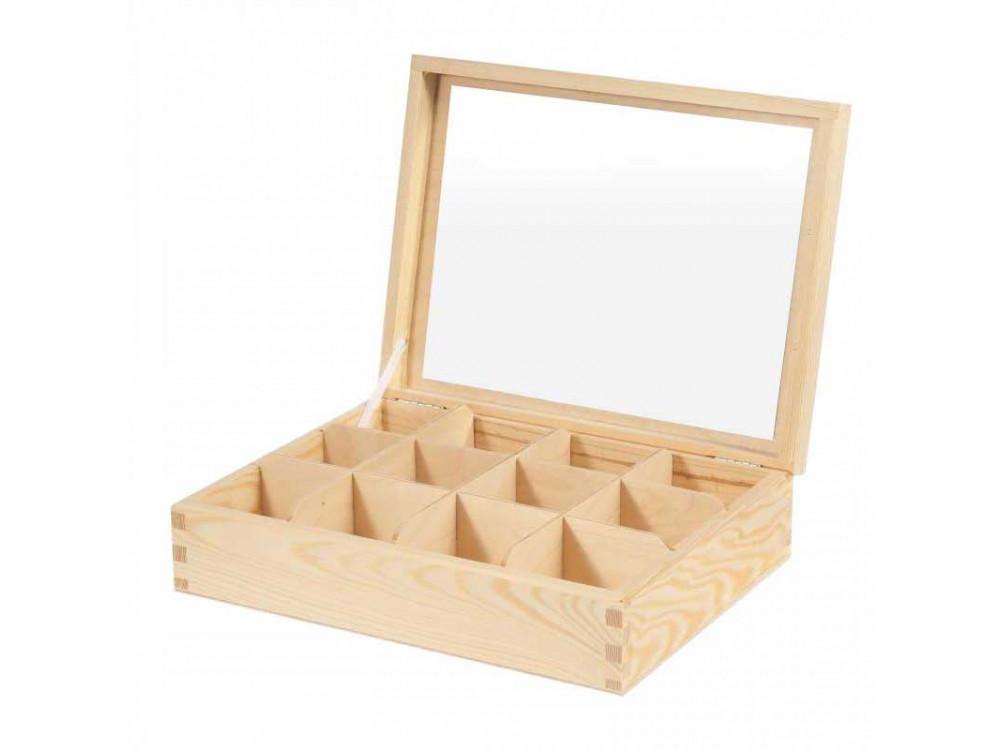 Drewniany pojemnik z lustrem - 12 przegród