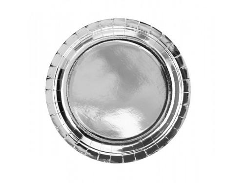 Round plates, silver, 23 cm
