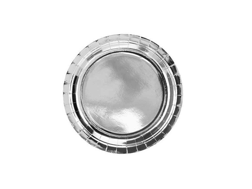 Round plates - silver, metallic, 23 cm, 6 pcs.