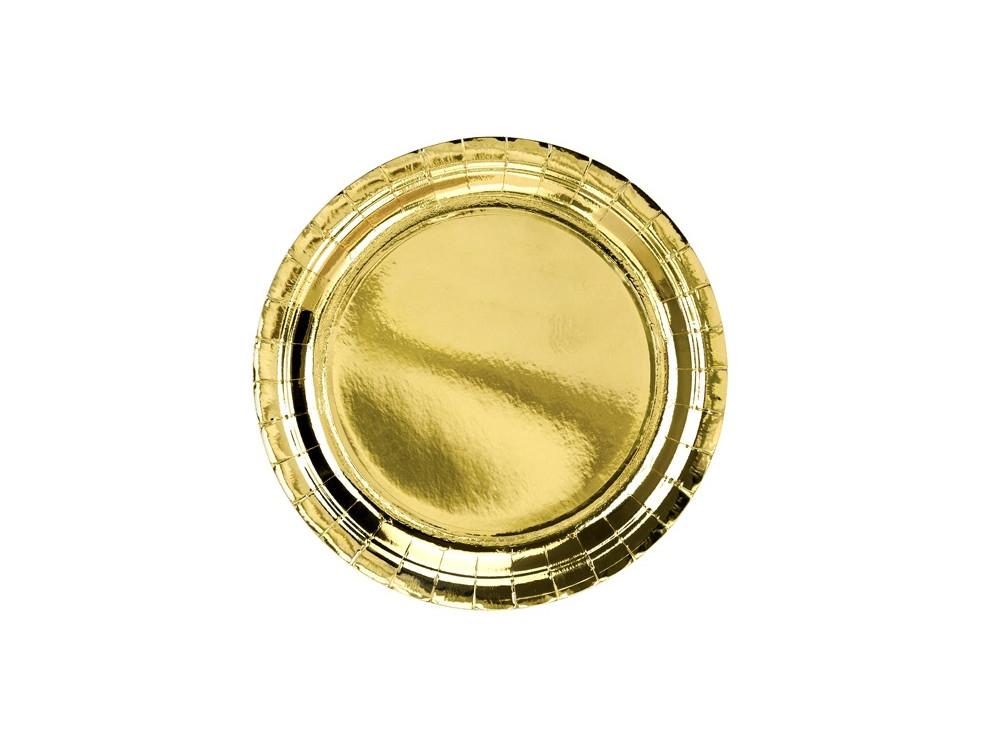 Round plates - gold, metallic, 23 cm, 6 pcs.